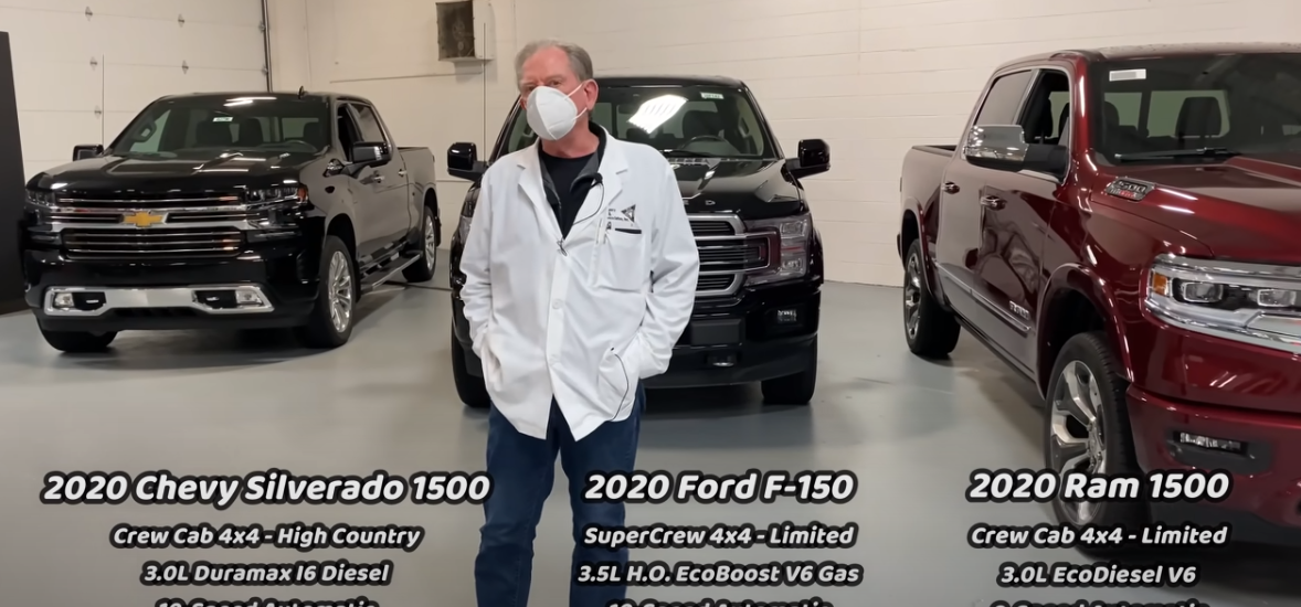Cybertruck vs the F150 Dodge Ram and Silverado