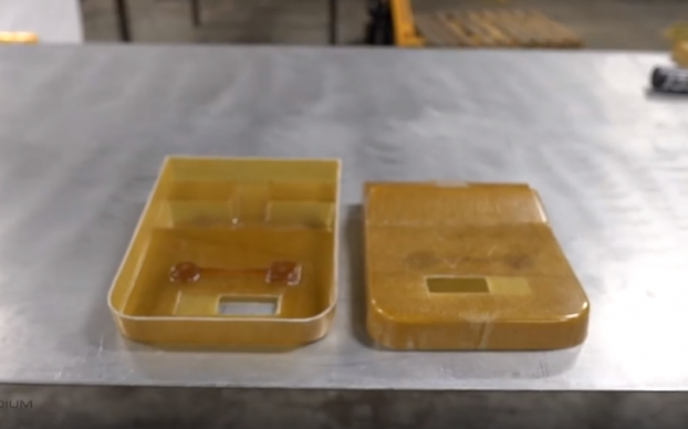 Two molded pieces of Presidium USA's Revotherm material.