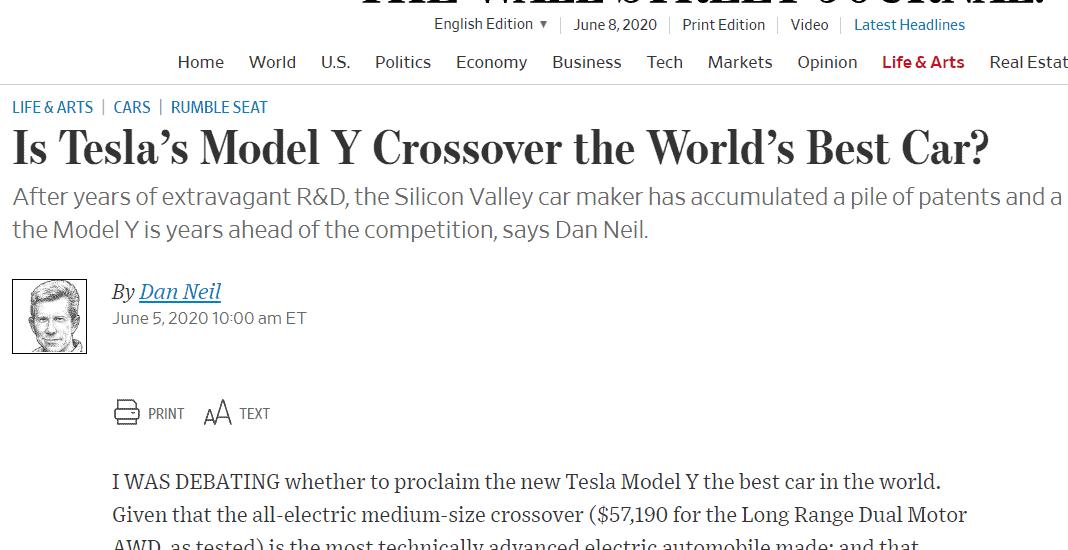 Sandy Munro Wall Street Journal Tesla Model Y